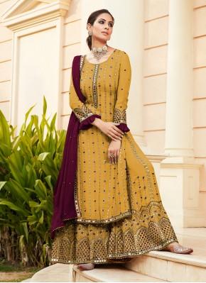 Mustard Embroidered Designer Palazzo Salwar Suit