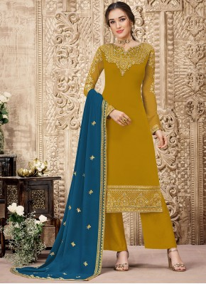 Mustard Embroidered Party Salwar Suit