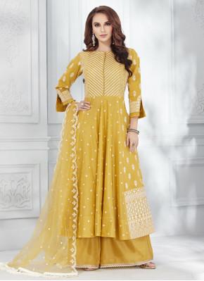 Mustard Embroidered Reception Salwar Suit