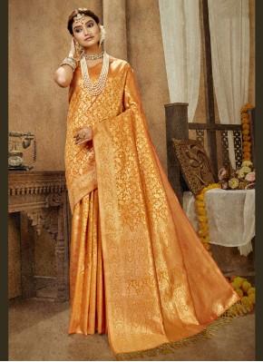 Mustard Engagement Traditional Designer Saree
