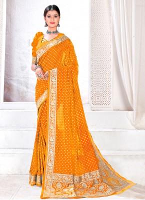 Mustard Fancy Festival Designer Traditional Saree