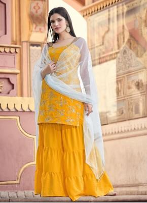 Mustard Faux Crepe Fancy Designer Pakistani Salwar Suit