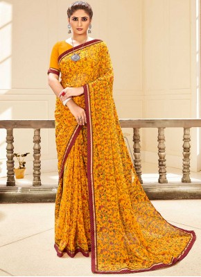 Mustard Faux Georgette Traditional Saree