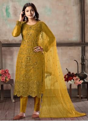 Mustard Net Embroidered Churidar Designer Suit