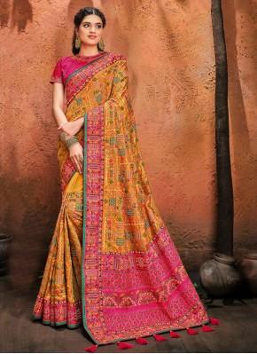 Mustard Resham Mehndi Designer Traditional Saree