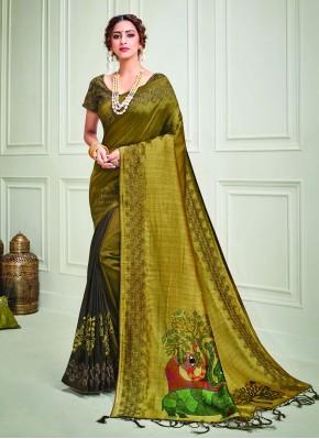 Mustard Silk Embroidered Classic Designer Saree