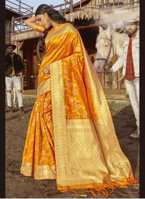 Mustard Weaving Traditional Saree