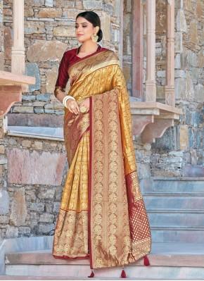 Mustard Woven Silk Traditional Saree