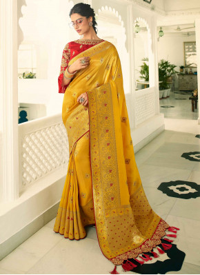 Mustard Yellow Banarasi Silk Woven Saree with Tess
