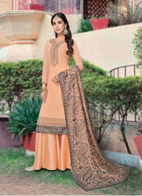 Mystic Embroidered Peach Designer Palazzo Salwar Suit