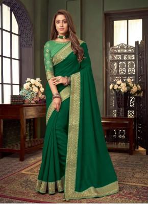Mystic Green Embroidered Classic Designer Saree