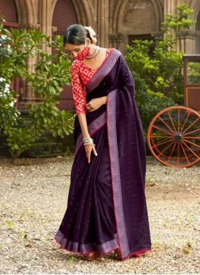 Mystic Purple Lace Linen Casual Saree