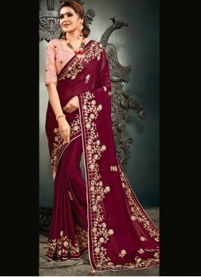 Mystic Satin Magenta Designer Saree