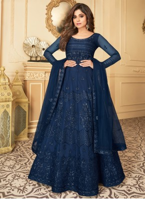 Mystical Blue Net Anarkali Suit