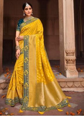 Mystical Embroidered Banarasi Silk Yellow Designer Saree