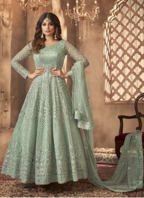 Mystical Embroidered Green Shamita Shetty Floor Length Anarkali Suit