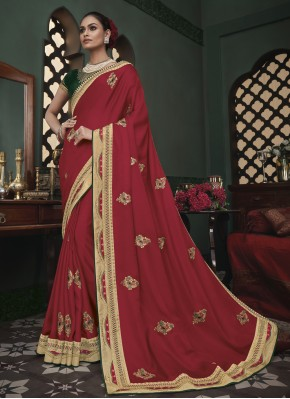 Mystical Fancy Fabric Embroidered Maroon Trendy Saree