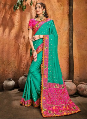Mystical Patch Border Silk Designer Traditional Saree