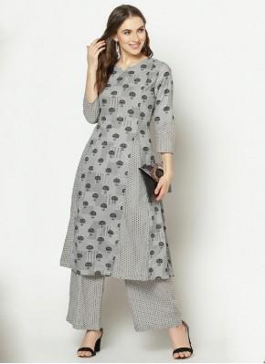 Mystical Printed Cotton Grey Designer Kurti