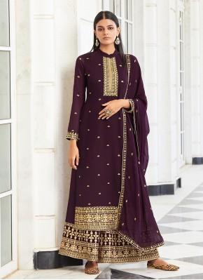 Mystical Purple Faux Georgette Designer Palazzo Suit