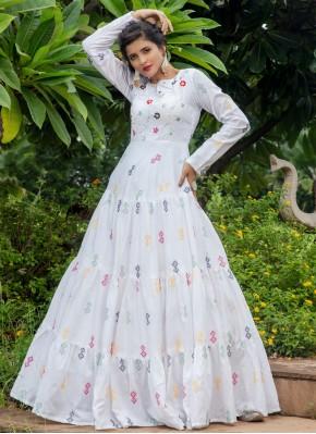 Mystical White Printed Cotton Designer Gown