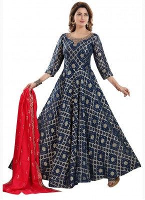 Navy Blue Anarkali Suit in Jamawar Silk