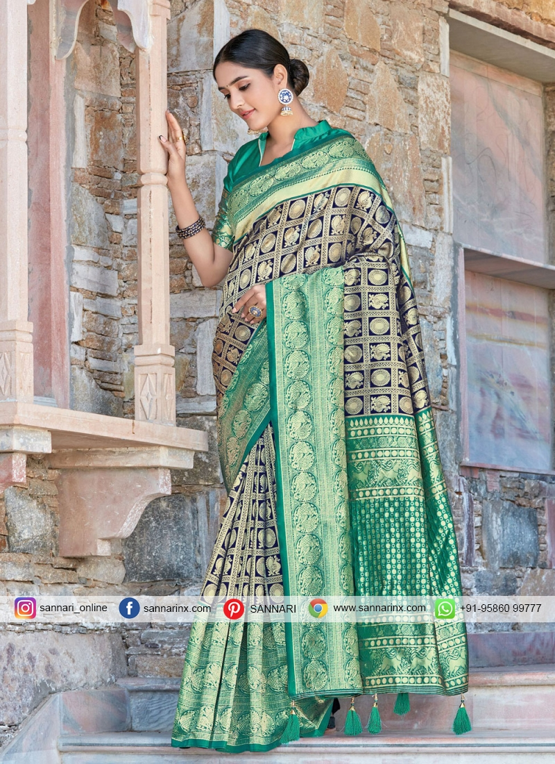 Navy Blue and Rama Silk Designer Traditional Saree