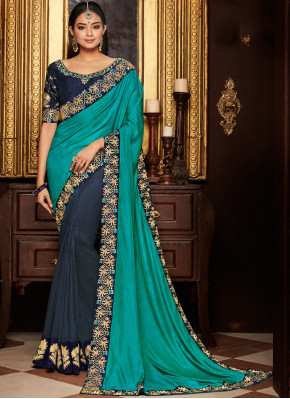 Navy Blue and Sea Green Embroidered Art Silk Designer Half N Half Saree