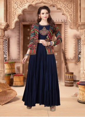 Navy Blue Chiffon Indo Western Style Suit