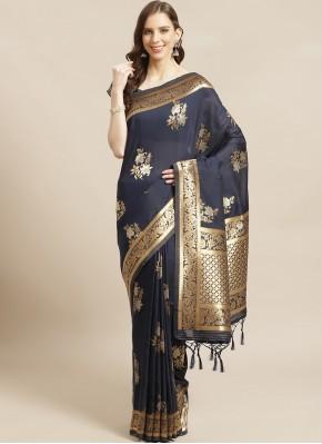 Navy Blue Color Traditional Saree