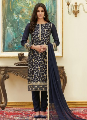 Navy Blue Embroidered Ceremonial Pant Style Suit