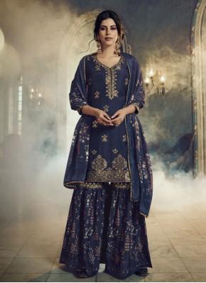 Navy Blue Embroidered Festival Designer Pakistani Suit
