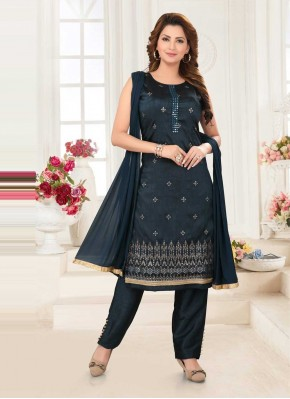 Navy Blue Embroidered Poly Silk Readymade Suit