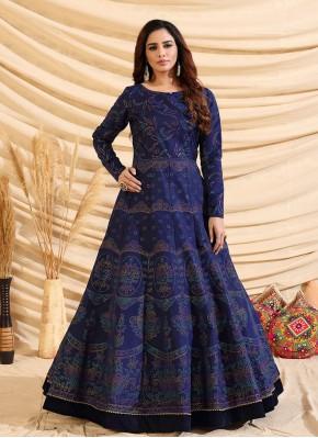 Navy Blue Fancy Engagement Designer Gown