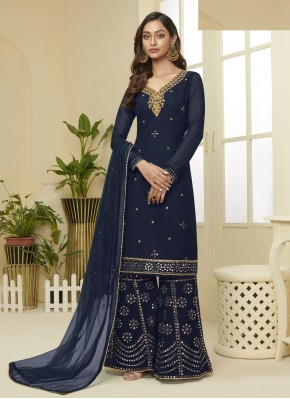 Navy Blue Faux Georgette Embroidered Designer Palazzo Salwar Suit