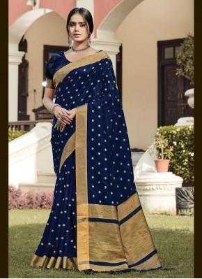 Navy Blue Handloom silk Woven Traditional Saree