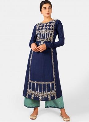 Navy Blue Khadi Designer Kurti