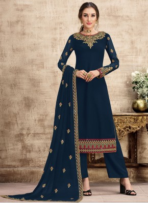 Navy Blue Party Georgette Designer Salwar Kameez