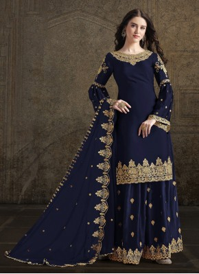 Navy Blue Party Georgette Trendy Palazzo Suit