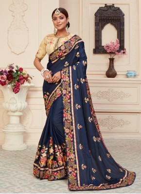 Navy Blue Patch Border Designer Traditional Saree