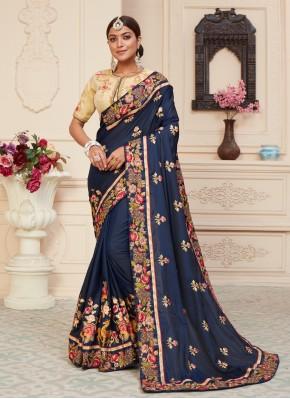 Navy Blue Patch Border Designer Traditional Saree