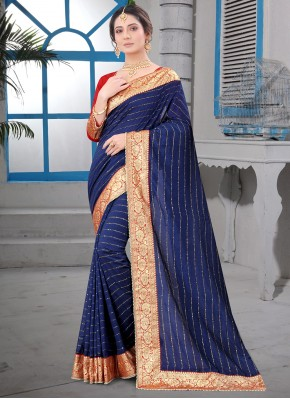 Navy Blue Patch Border Silk Contemporary Saree