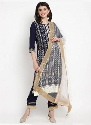 Navy Blue Rayon Print Bollywood Salwar Kameez