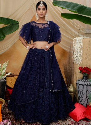 Navy Blue Resham Reception Designer Lehenga Choli