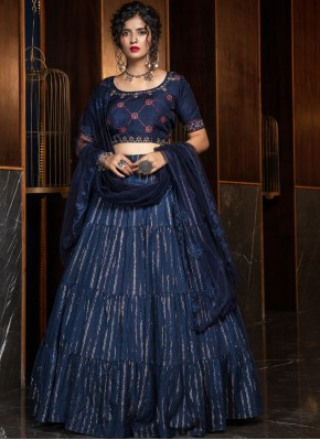 Navy Blue Sangeet Cotton A Line Lehenga Choli