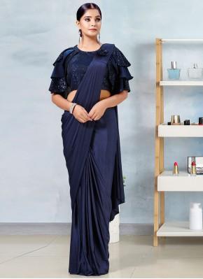 Navy Blue Sangeet Designer Saree