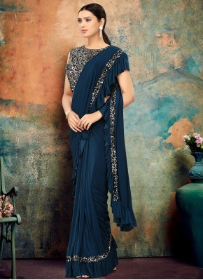 Navy Blue Sequins Trendy Saree