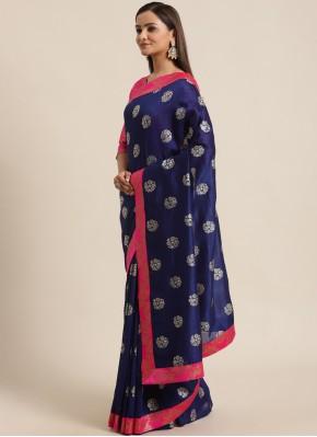Navy Blue Silk Festival Classic Saree