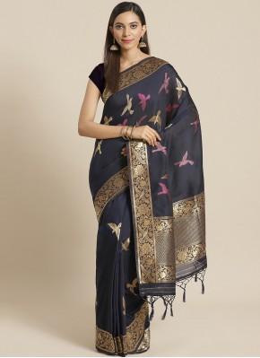 Navy Blue Silk Festival Traditional Saree