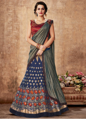Navy Blue Silk Floral Woven Lehenga Saree with Patch
